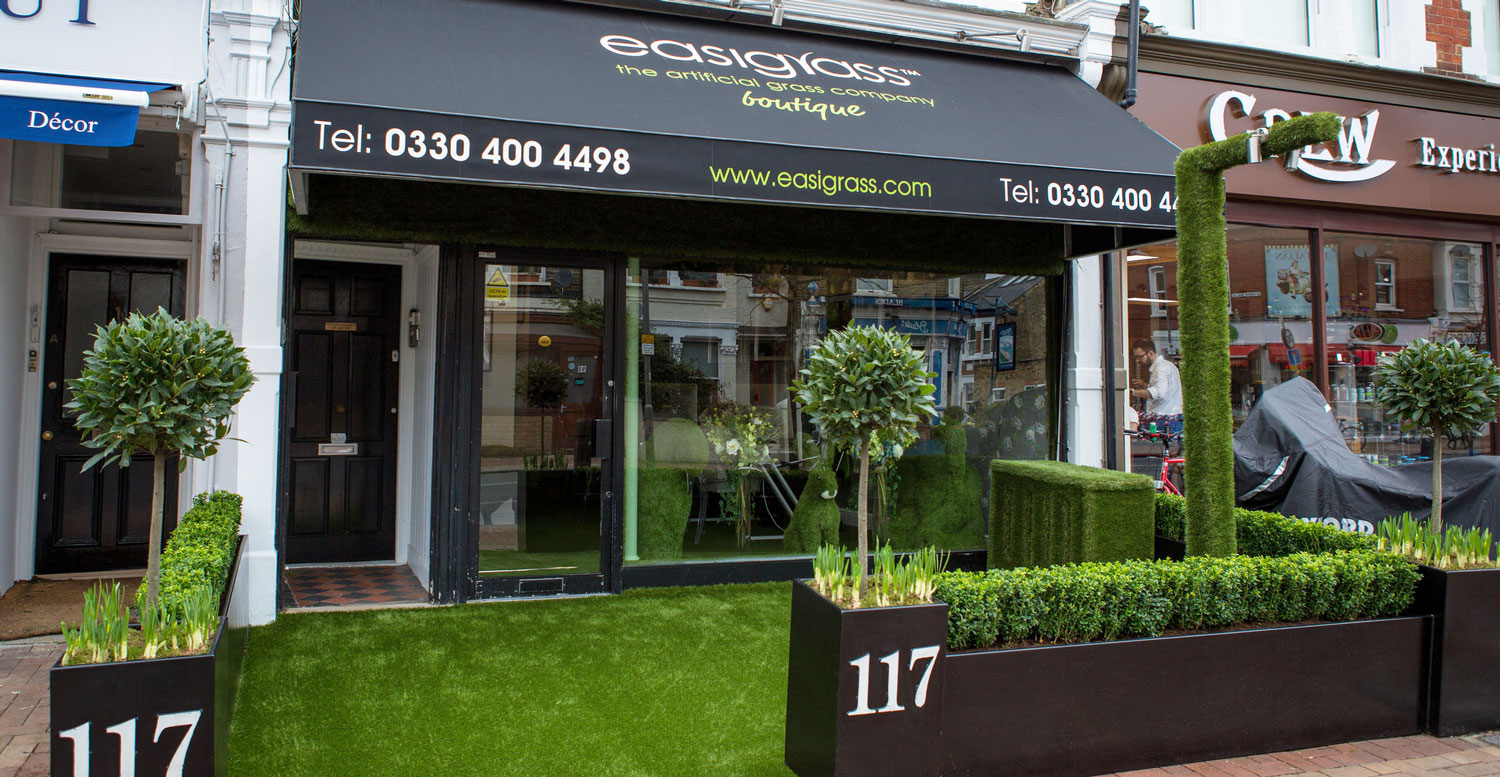 Front of artificial grass shop - easigrass boutique in london