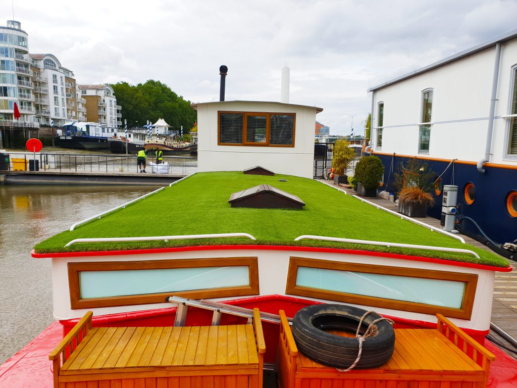 artificial grass on a barge