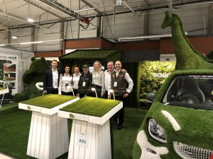 artificial grass display with swatches and artificial grass animals