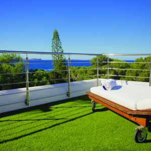 artificial grass with sunbed on a terrace