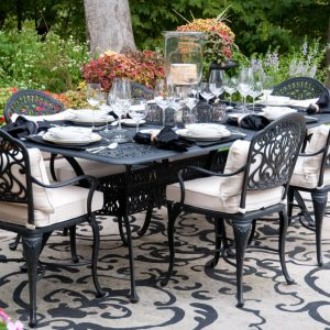 Outdoor furniture dinning room table with high end table settings