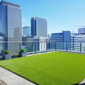 artificial grass lawn on roof of terrace